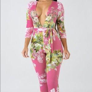 Pink Floral Body Suit